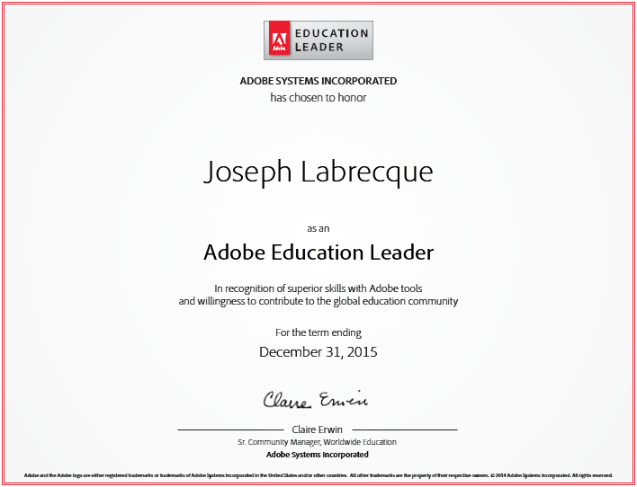 Adobe Education Leader for 2014/2015 Term
